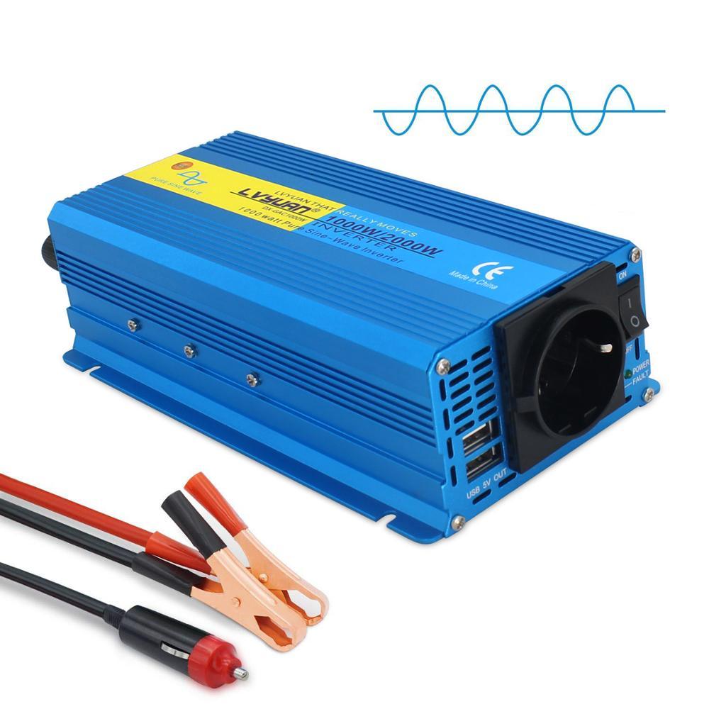 Car Power inverter 2000W Peak  DC 12V to 110V-230V Portable Car Power Pure Sine Wave EU AU UK US Socket Full Power inverter