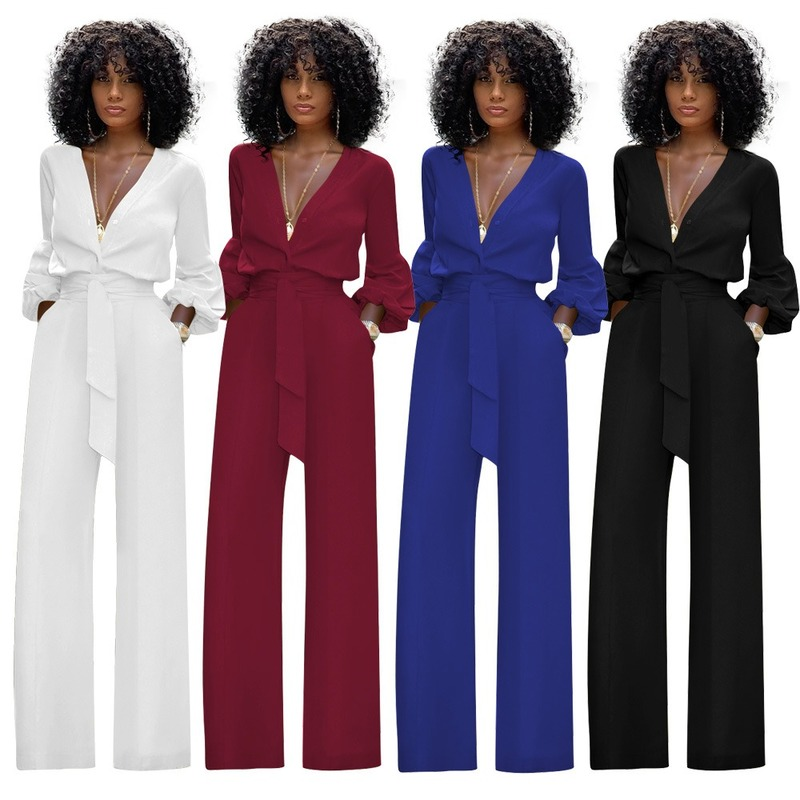 Jumpsuit Women Casual Rompers Womens Jumpsuit Sexy V Neck Ladies Solid Long Sleeve Summer Jumpsuit Black White Blue Red -85