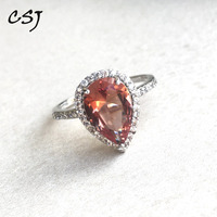 CSJ Elegant Zultanite Ring Sterling 925 Silver Pear8*12MM Created Sultanite Fine Jewelry Women Lady Wedding Party Gift