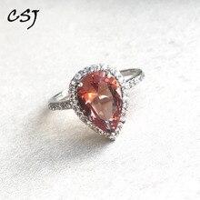 CSJ elegancki pierścionek zultanit Sterling prawdziwe srebro 925 utworzono kamień kolor sultanit Fine Jewelry kobiety Lady Wedding Party prezent