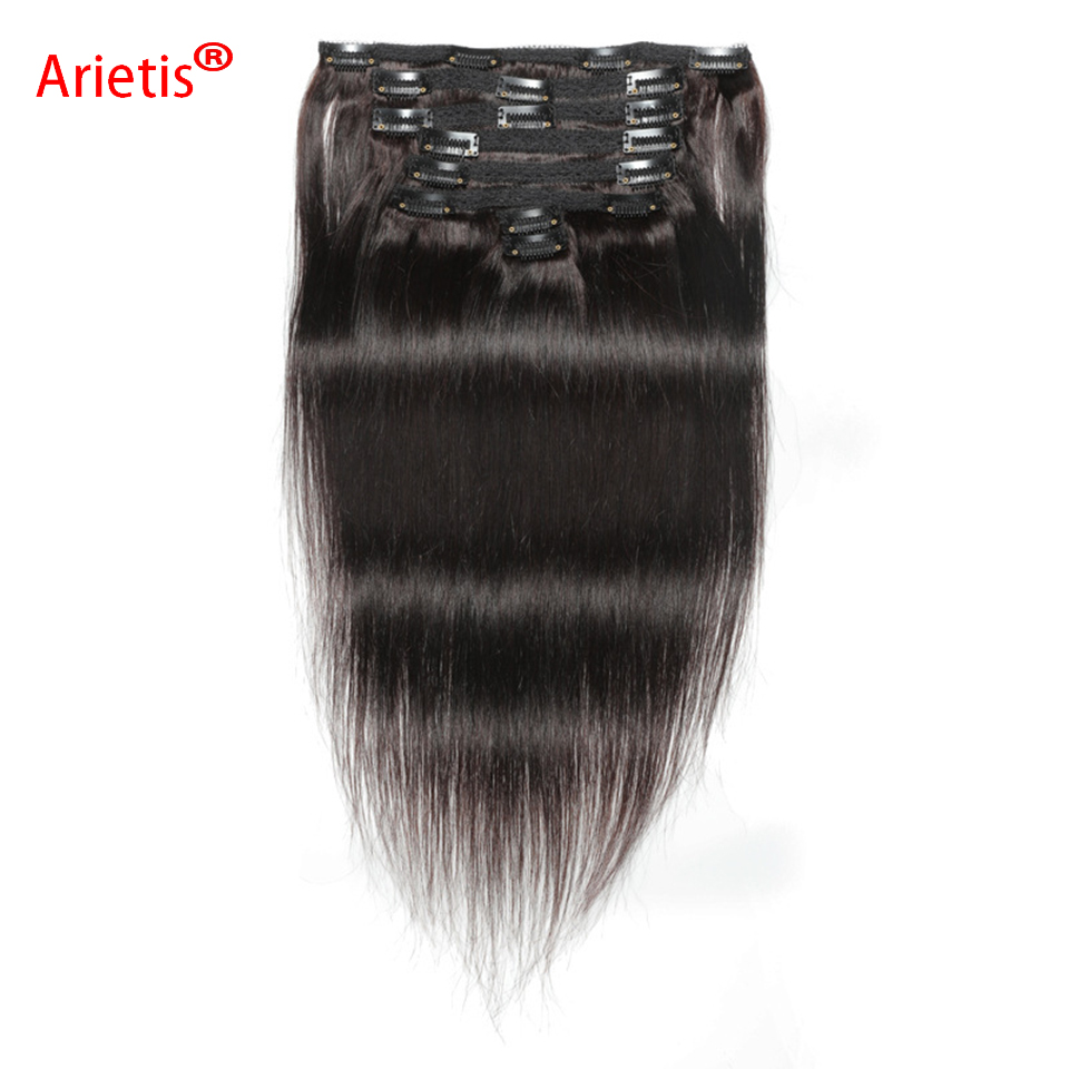 Arietis Store Mongolian Straight 8-24inches 120gram Clips Hair Extensions 8 Pieces Natural Color Remy Human Hair For White Women