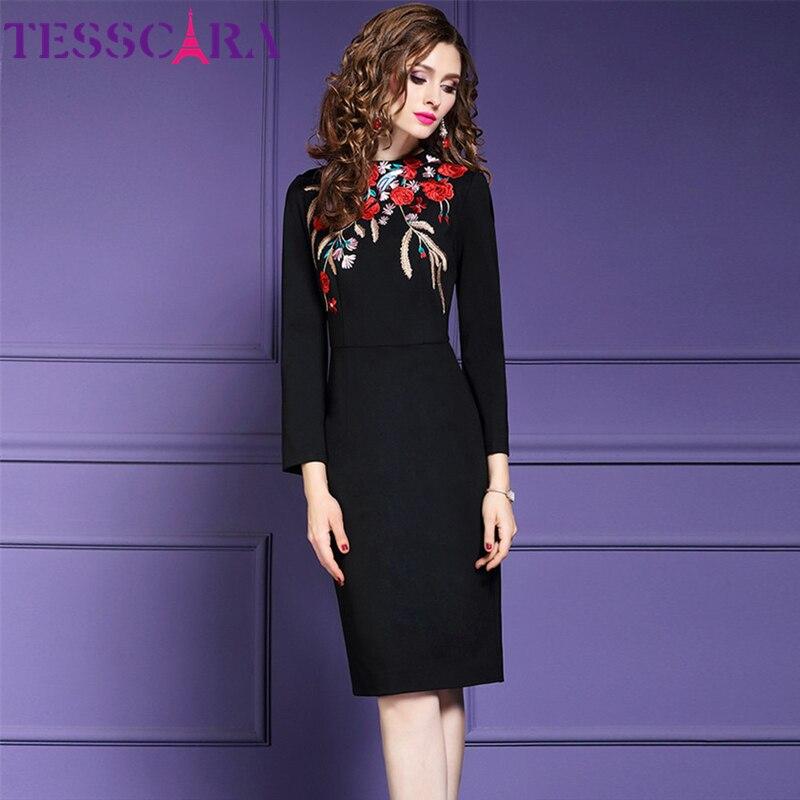 TESSCARA Women Autumn Winter Elegant Embroidery Dress Festa Female Office Pencil Robe Femme High Quality Designer