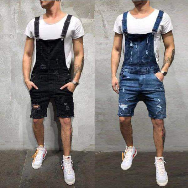 Europe And America New Style Cowboy Suspender Pants With Holes Slim Fit Men's Shorts Ozhouzhan Hot Selling MEN'S Overalls