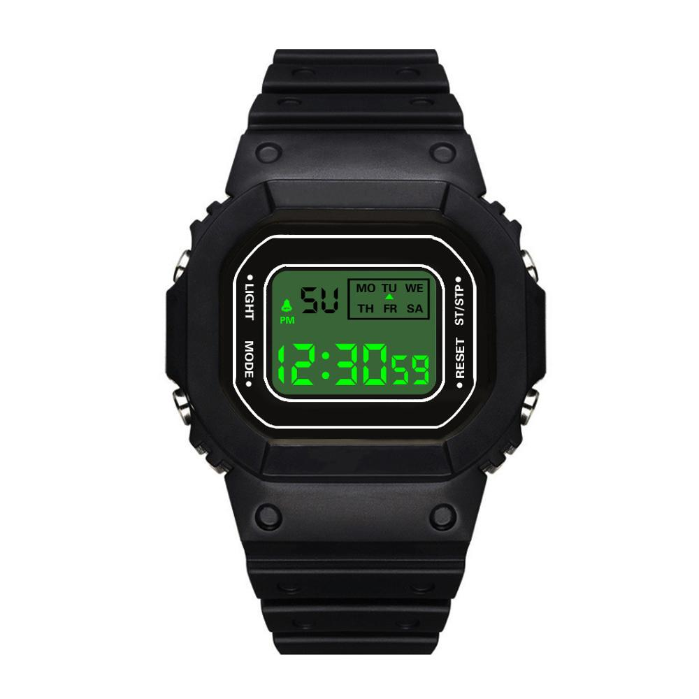 Square Mens University Student Electronic Watch Fashion Outdoor Waterproof Sports Watch Male Colck Plastic Digital Watches Reloj