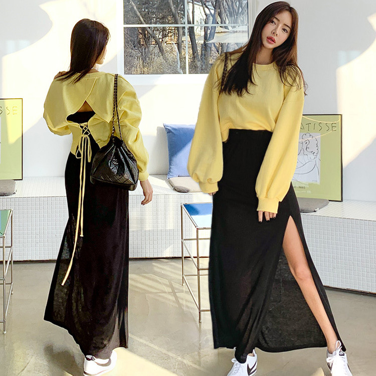 2019 Spring And Summer New Style Lace-up Backless Hoodie High Slit Modal Skirt Fashion Leisure Suit 3.26 Delivery