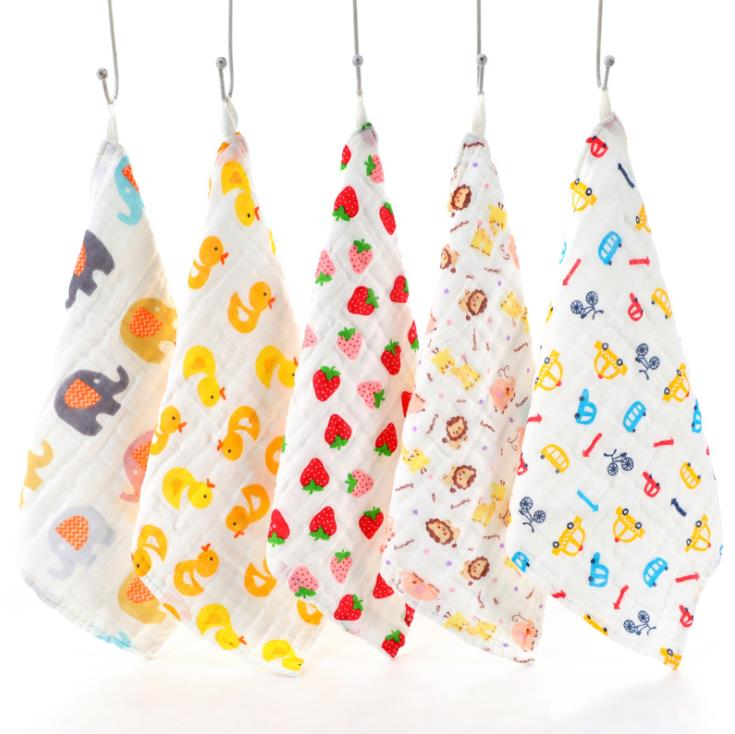 100% Cotton Gauze Newborn Baby Infant Cartoon Face Hand Bathing Towel Bibs 31*31cm Feeding Square Towels Handkerchief