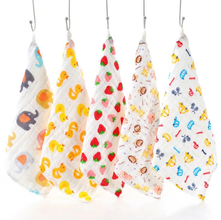 100% Cotton Gauze Newborn Baby Infant Cartoon Face Hand Bathing Towel Bibs 31*31cm Feeding Square Towels Handkerchief
