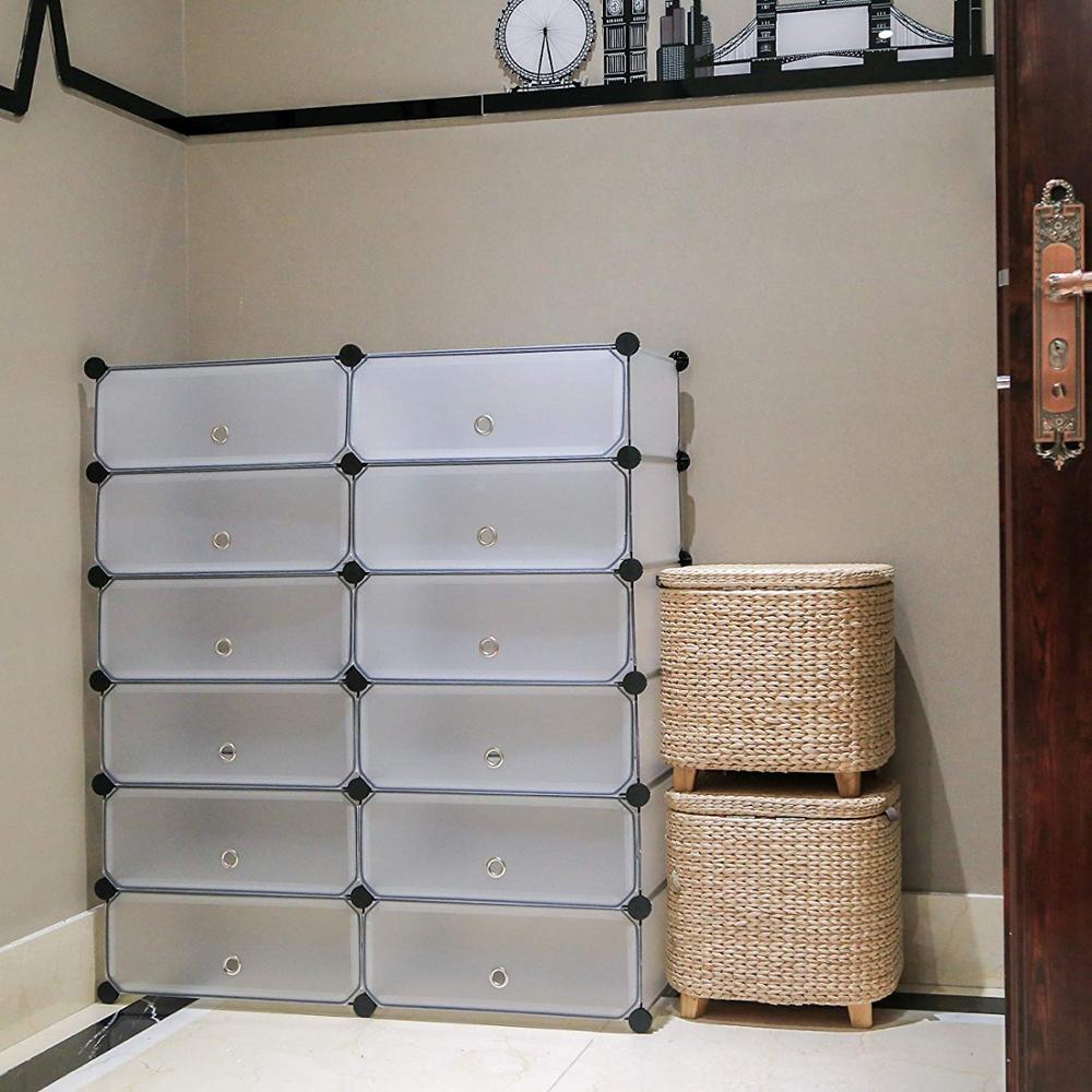 Portable Shoe Storage Organizer Racks Plastic Cube Shoe Cabinet Shelving Shoe Rack Shelves For Shoes  DIY Home Furniture