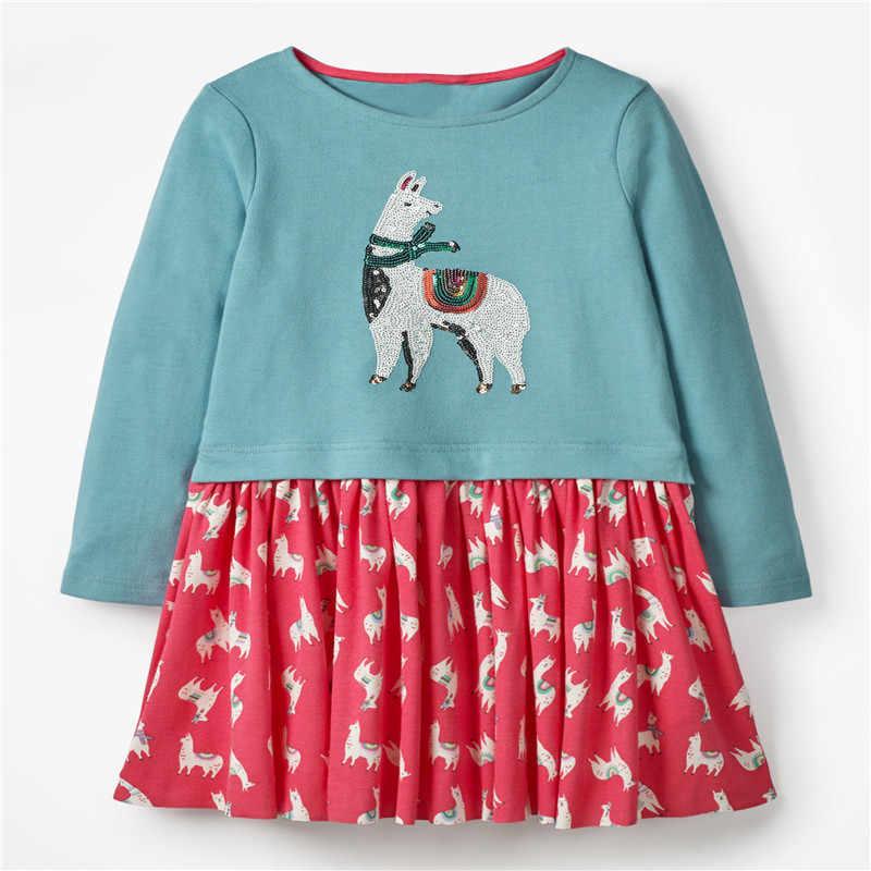 Прыжки метров Новое поступление платья принцессы с аппликацией хлопковая одежда с длинными рукавами для маленьких девочек осенне-весенние платья для рождественской вечеринки