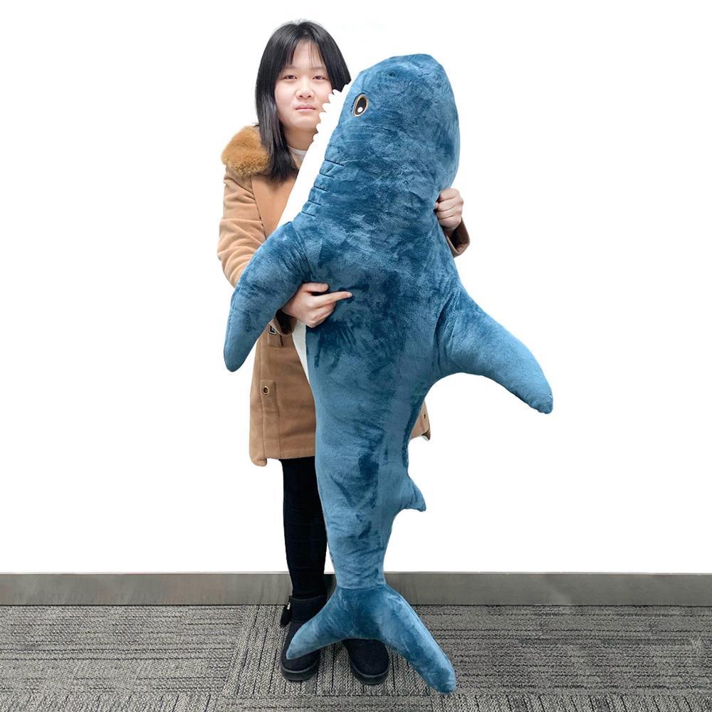 JULY'S SONG 80/100/140CM juguetes de felpa de tiburón almohada Popular para dormir lindo Animal relleno juguetes suaves para niños viaje juguete de compañía