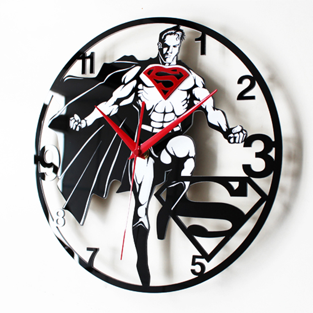 Superman Wall Clock Modern Design Kids Clocks For Bedroom Retro Vinyl CD Record Wall Watch Home Decor Silent 12 Inch