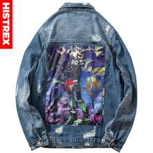 Mannen Hip Hop Denim Jas Ripped Gaten Vintage Jas Jeans Blad Verf Borduurwerk Brief 2020 Streetwear Denim Jacket Verontruste(China)