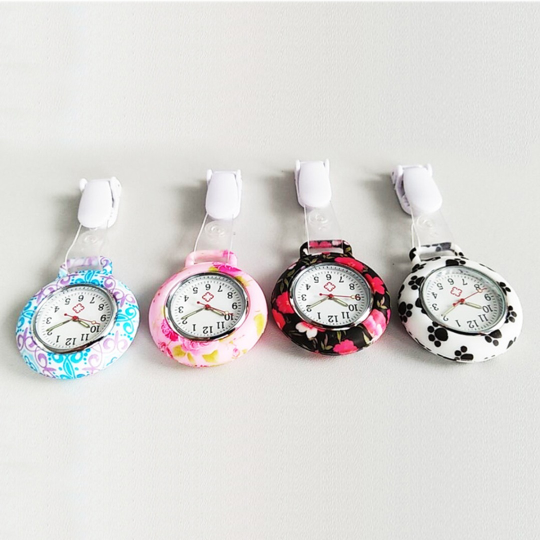 Portable Cute Beautiful Flower Dog Printing Silicone Pocket Watch For Nurse Doctor Student Analog Quartz Fob Watch Relogio