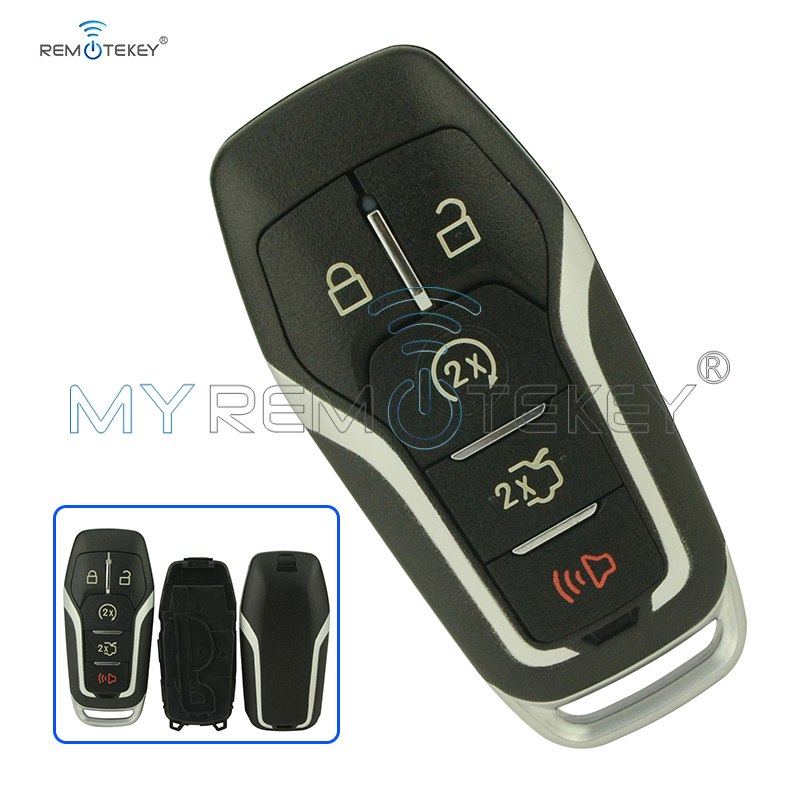 Smart remote <font><b>key</b></font> case 5 button 164-R7989 for <font><b>Ford</b></font> Edge Explorer <font><b>Fusion</b></font> <font><b>2015</b></font> 2016 2017 M3N-A2C31243300 car <font><b>Key</b></font> shell Remtekey image