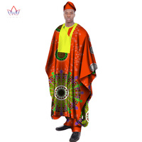 4 Pcs Set African Print Wax Long Men Loose Robe Shirt and Pant Hat Dashiki Traditional African Mens Clothing Plus Size WYN20