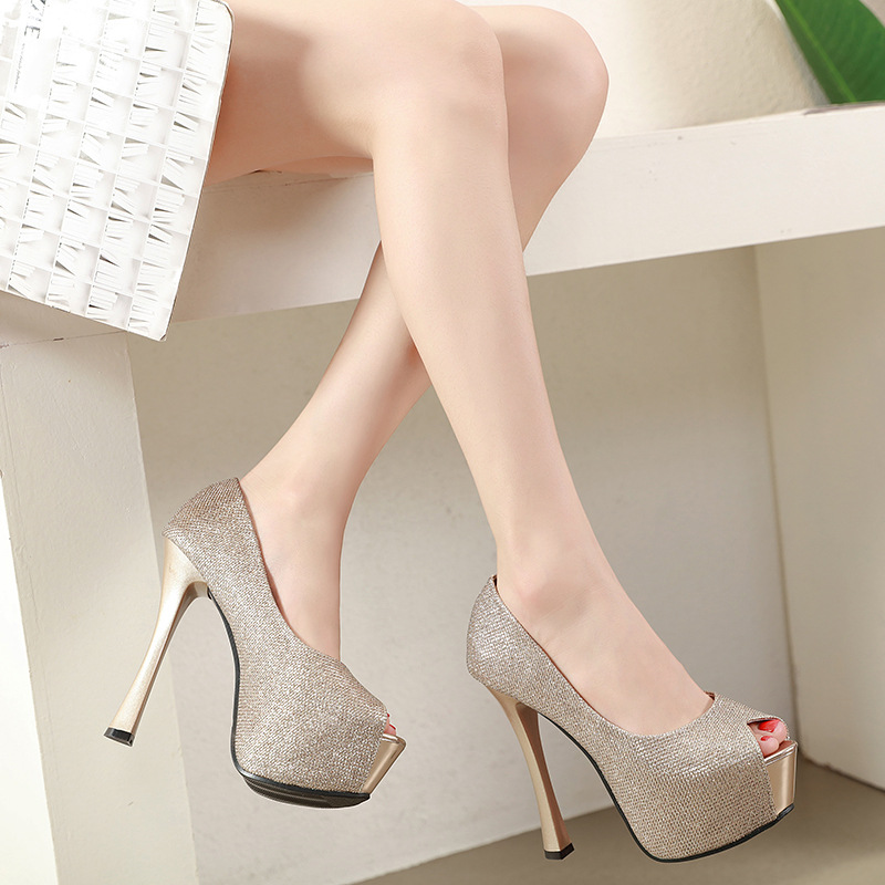 US $25 86 30% OFF|Platform women pumps luxury glitter bling high heels  bridal wedding shoes sexy peep toe stiletto ladies party shoes gold  silver-in