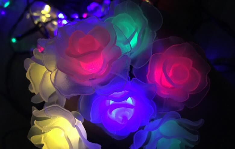 LED New Rose Flower String Light Decoration Holiday Coloured Light Battery Box Lamp String 3m 20led