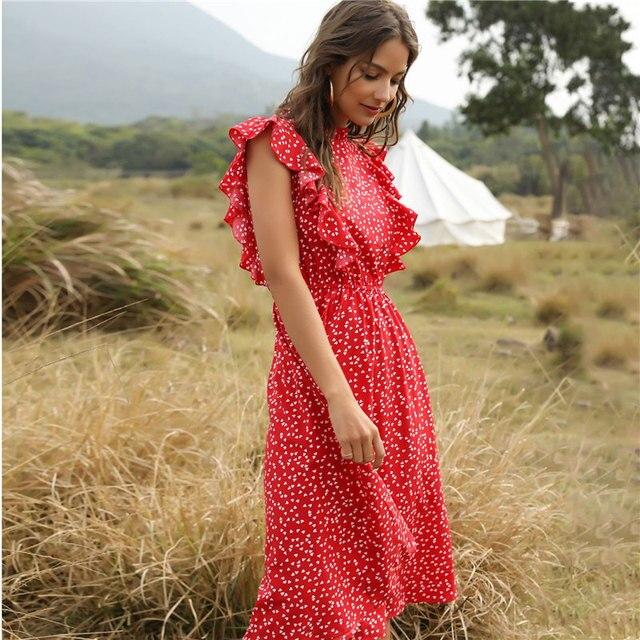 ruffled calf-length summer dress 3