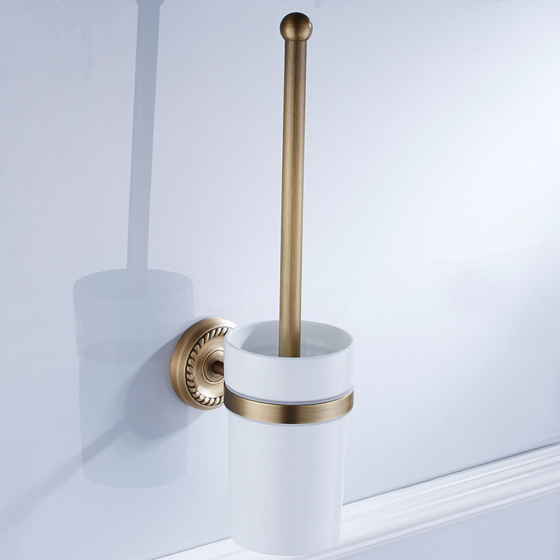 Antique Brass Wall Mounted Toilet Brush Holder For Bathroom Accessories