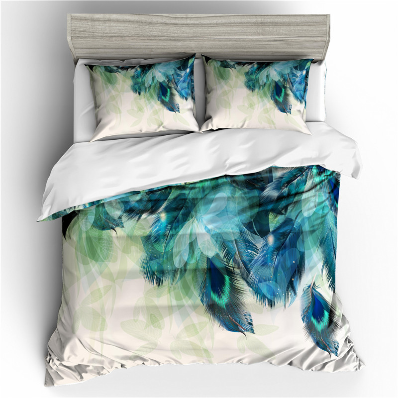 Bed linen 3D Peacock Feather Print Comforter Bedding sets Queen Bohemian Duvet Cover Set Bedroom Decoration(China)