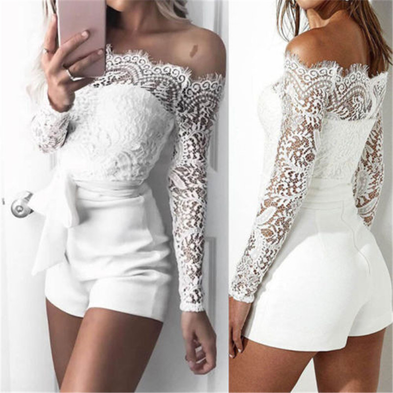 Sexy Off Shoulder Lace White Playsuits Women Bodycon Long Sleeve Jumpsuit Bodysuit Ladies Overalls Shorts Rompers