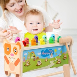 0-14years old early childhood boys girls educational toys  wooden cartoon whack-a-mole children cartoon ten wooden stake toys