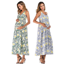 Fashion Maternity Dress Sleeveless V-Neck Womens Casual Floral Print Pregnant for Clothes Sling Women
