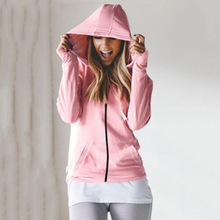 Winter Fall 2019 Zipper Womens Pink Hoodies Pocket Sport Zip-up Sweatshirt Hoody Clothes Casual Slim Kawaii Cute Femme Top