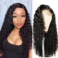 Парики с глубокой волной 13x4, вьющиеся передние парики из человеческих волос на сетке для черных женщин, без клея, малазийские Короткие вьющи...