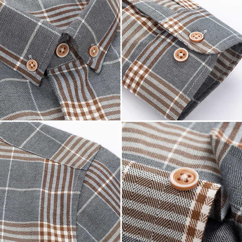 클래식 캐주얼 남성 버튼 슬림 피트 긴 소매 복장 비즈니스 셔츠 탑스 현대 M-5XL 슬림 격자 무늬 블라우스 Musle Shape