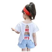 T-Shirt Kids Open-Back Girls Short-Sleeve Print Children Cotton Letter VIDMID P818 Tees
