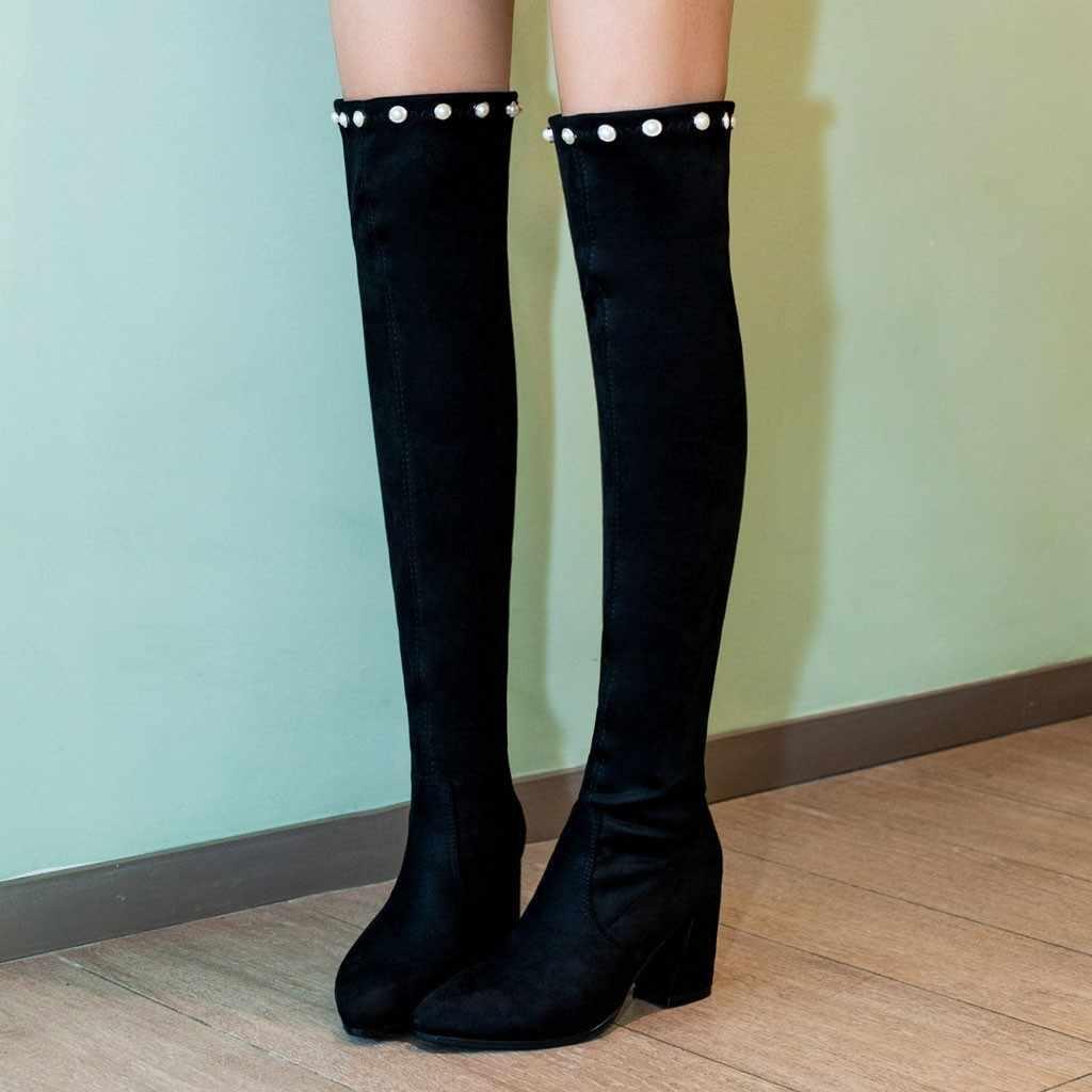 Moda 2019 yeni sıcak kadın botları sonbahar kış bayanlar yüksek topuk çizmeler diz üzerinde uyluk yüksek siyah süet uzun çizmeler 40