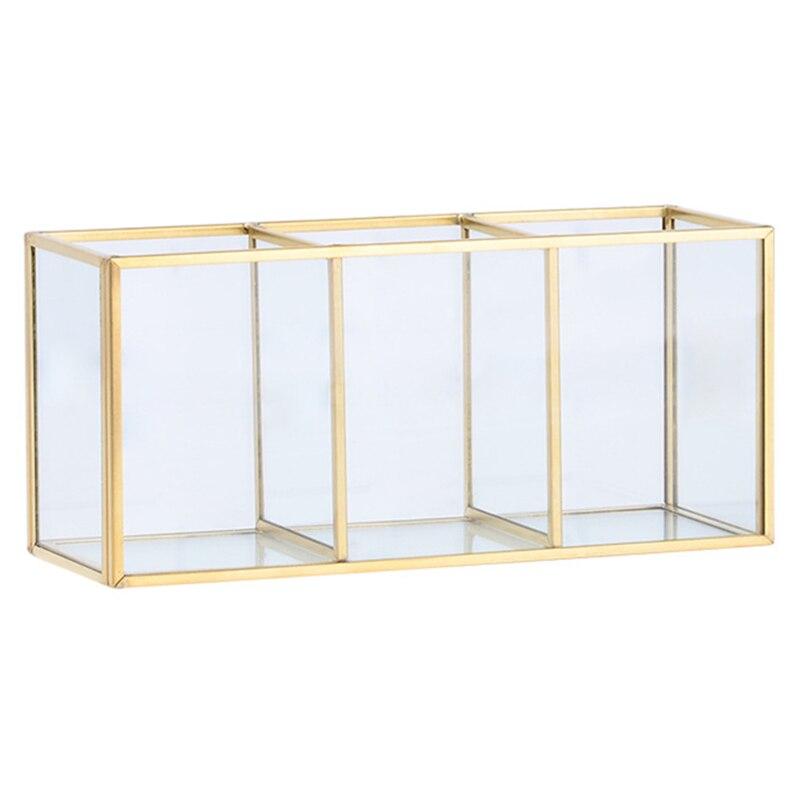 Nordic Gold Grid Glass Flip Storage Tank Box Luxury Modern Cosmetics Storage Box Container Micro-Landscape Flower Room B