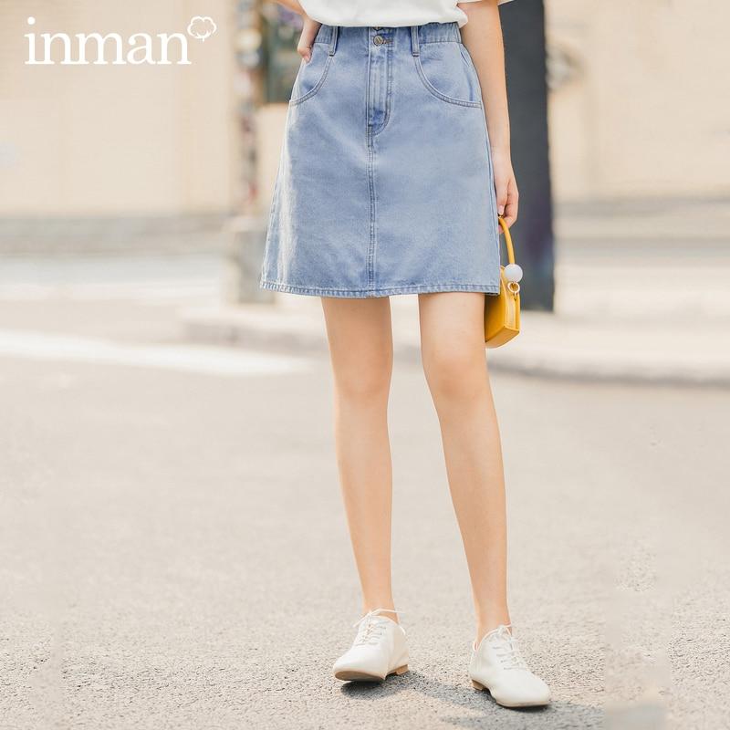INMAN 2020 Summer New Arrival Package Buttocks Slimmed Hongkong Style High Waist Single-brested Skirt