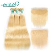 Ali Gnade Haar Blonde 613 Bundles Mit Frontal brasilianischen Gerade Bundles mit Verschluss 13*4 Remy Blonde Bundles Mit frontal