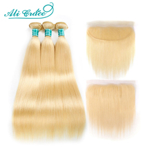 Ali Grace Hair Blonde 613 Bundles With Frontal Brazilian Straight Bundles with Closure 13*4 Remy Blonde Bundles With Frontal