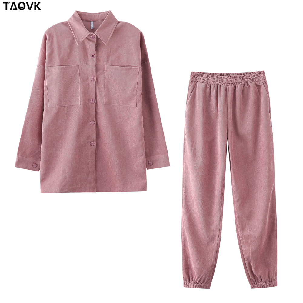 TAOVK Women's tracksuit corduroy  Pinstripe Single-breasted pocket Tops and pants women suits 8