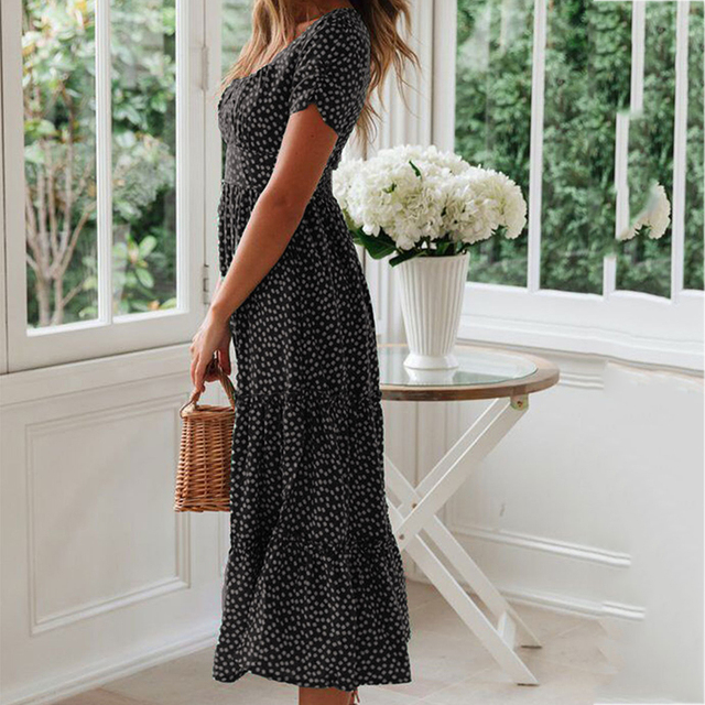Summer Beach Dress Women Sundress Black Bohemian Casual Women Long Dress Square Collar Print Boho Maxi Ladies Dress New CDR1349
