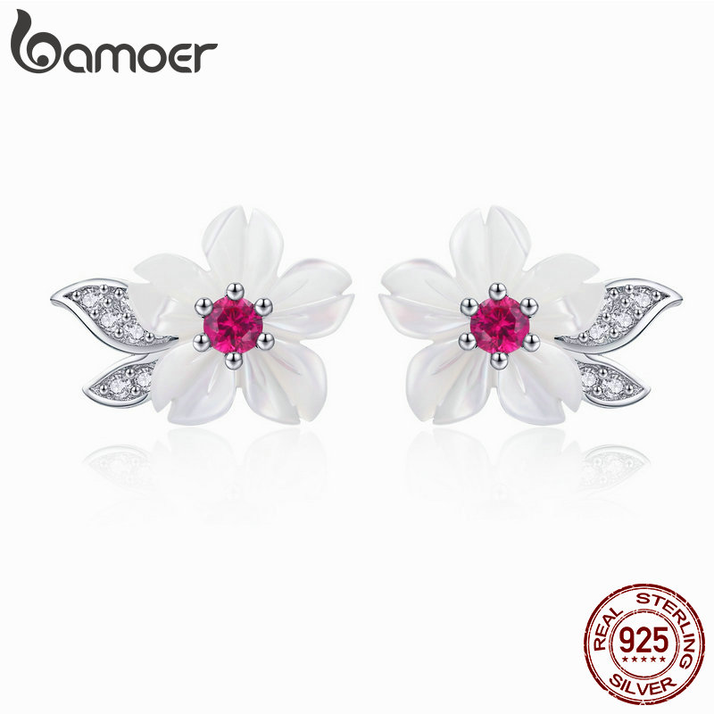 BAMOER Earrings For Women Sterling Silver Pure Shell Leaf Flower Stud Earring Fashion Korea Style 925 Silver Jewelry 2019 BSE055