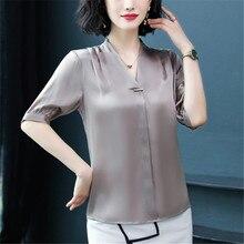 Silk for women's summer wear Korean version loose v-neck half sleeve satin shirt professional shirt silkworm silk small s цена