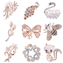 Brooches Scarf-Clip Clothing-Accessories Pins Christmas-Jewelry Women for Bouquet Rhinestone
