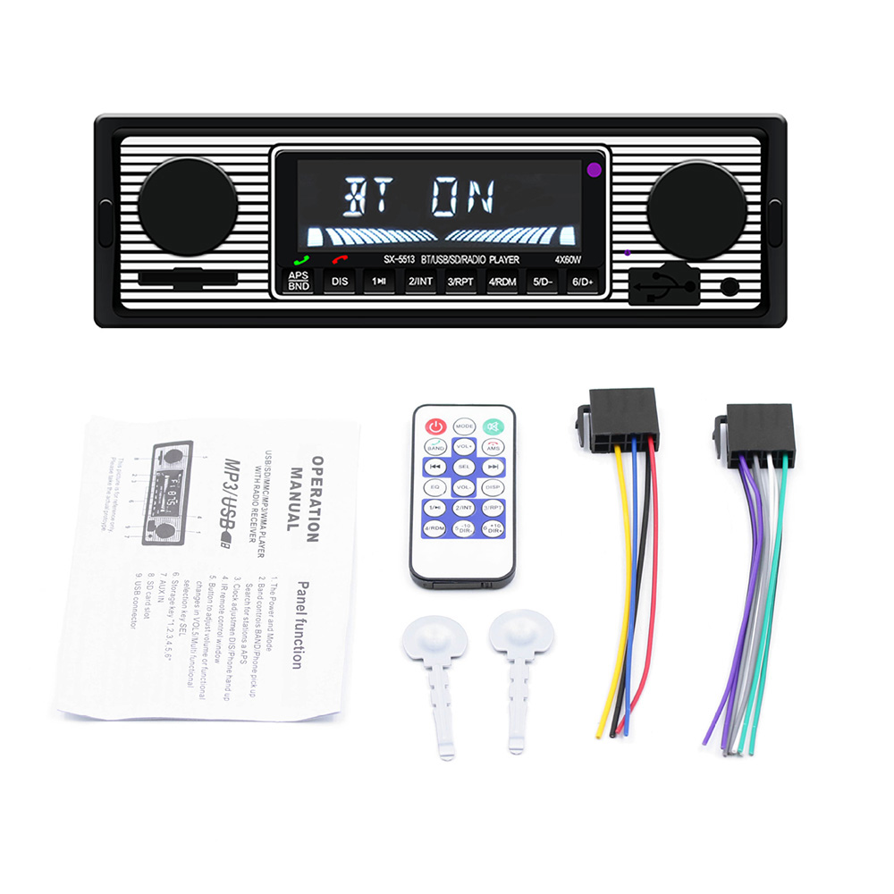 Car MP3 Player Stereo FM Retro Radio 12V Bluetooth Stereo MP3 USB AUX Power Cable Vehicles Radios Accessories