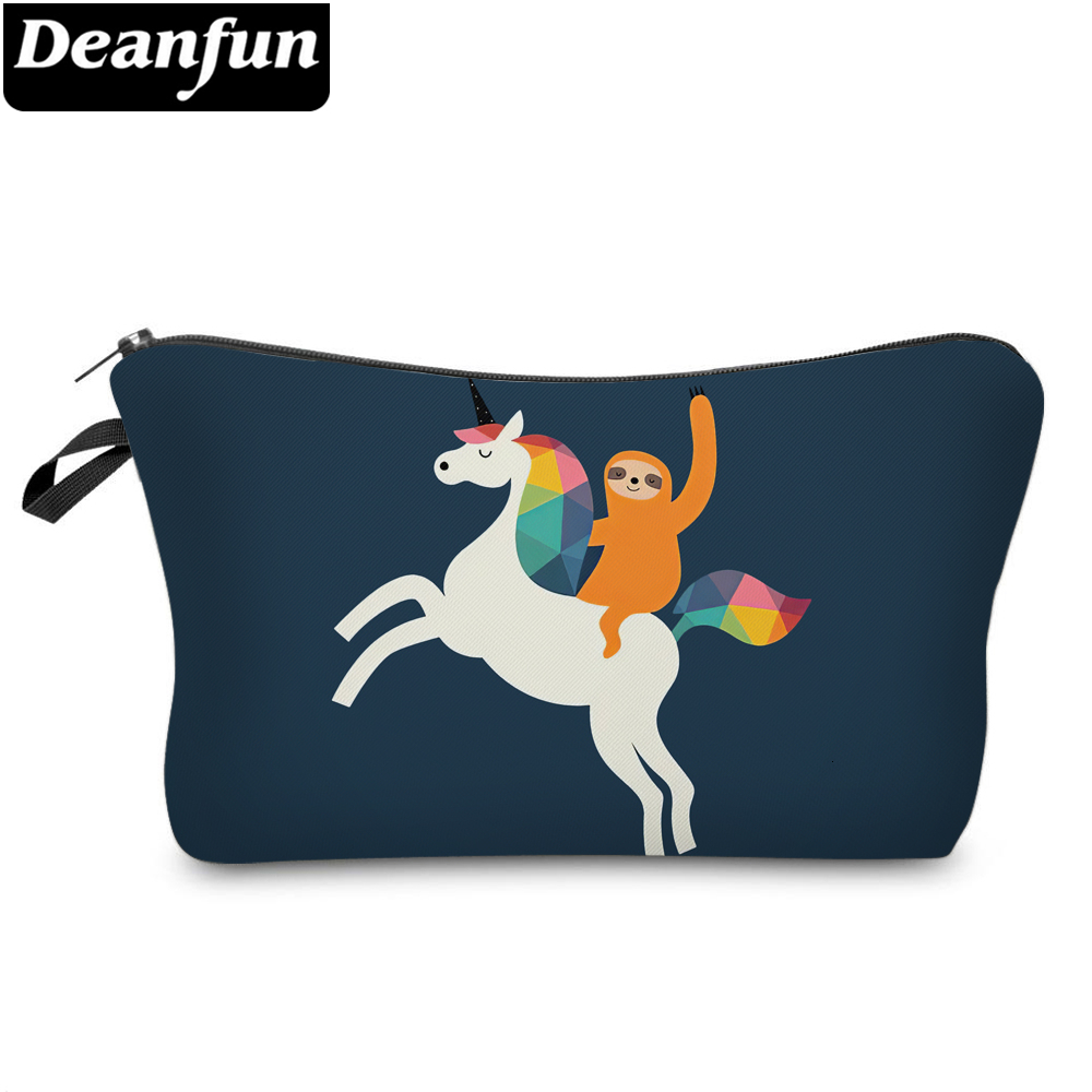 Deanfun Unicorn And Sloth Small Cosmetic Bag Makeup Bags For Purses Cute Storage Bags For Women Gift 51805