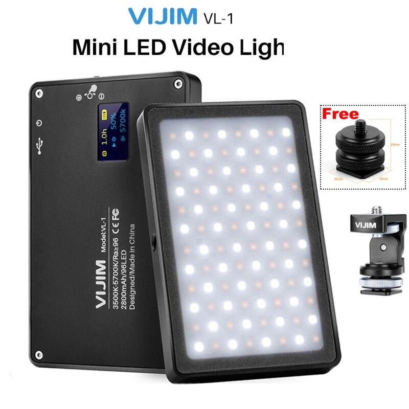 VIJIM VL-1 Mini LED Video Light Magnetic Dimmable Photography Lighting On Camera 96 LEDs Lamp W Cold Shoe High CRI96