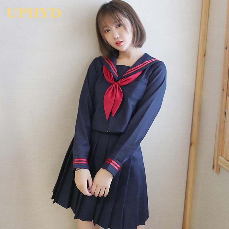 UPHYD Japanese High School Uniform Teen Girls Anime Cosplay Kawaii Student Uniform S-2XL Sailor Suits 3Pcs/Set