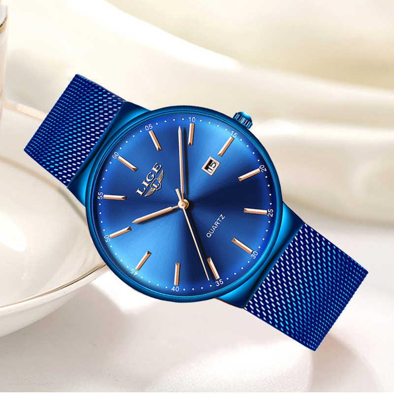 ליגע נשים שעונים למעלה מותג יוקרה אנלוגי קוורץ שעון נשים מלא כחול רשת נירוסטה תאריך שעון אופנה Ultra-דק חיוג
