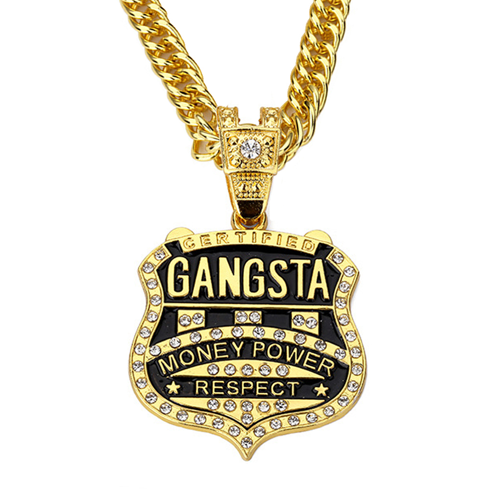 Latest Arrivals Fashion Personalized Badge Pendant Necklace Shining Crystal Jewelry Trendy Hip Hop <font><b>Gangsta</b></font> Rap Necklace Men image