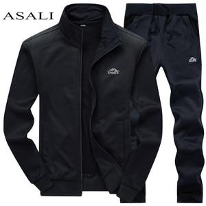 Tracksuits Men Polyester Sweatshirt Sporting Fleece 2019 Gyms Spring Jacket + Pants Casual Men's Track Suit Sportswear Fitness