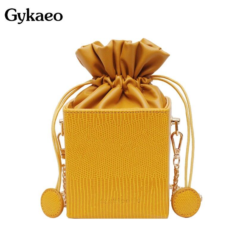 Gykaeo Fashion Drawstring Bucket Women Purses Bags Small Flap Ladies Handbags Box Shape Crossbody Bags For Women 2019 Sac A Main