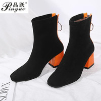 fashion contrast color orange black block high heels shoes woman stretch fabric women ankle boots socks booties size 43 44